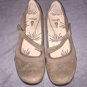 Ahnu Brown Leather Mary Jane Shoes